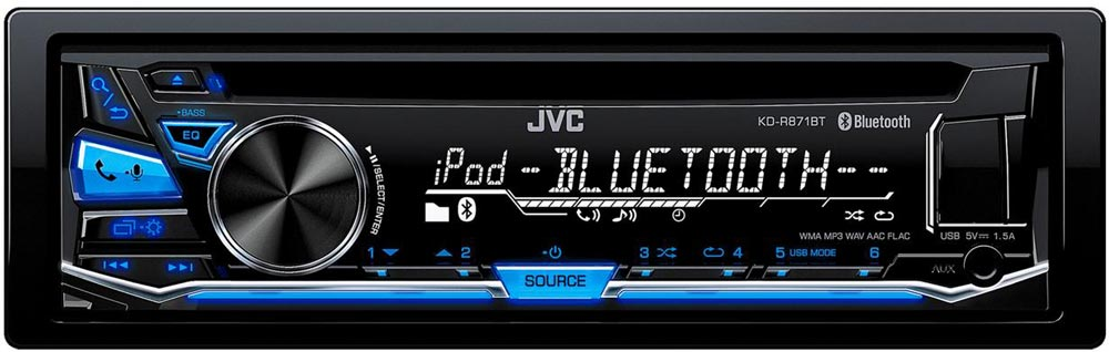 autoradio bluetooth jvc kd r871bt pas cher connectivit compl te. Black Bedroom Furniture Sets. Home Design Ideas